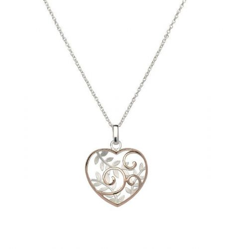 Sterling silver heart necklace two tone with rose gold gilt